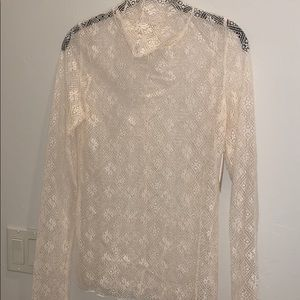 See through lace long sleeve top with turtleneck
